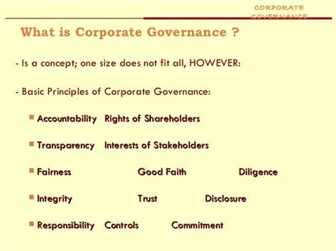 Business Ethics And Corporate Governance Notes For Mba by Corporate Governance Ppt Mba