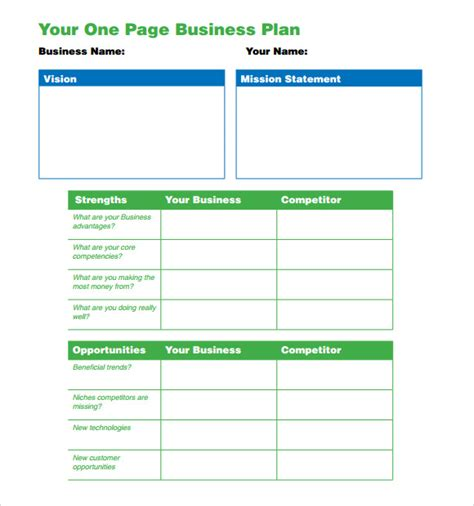 one page business plan template 10 download free