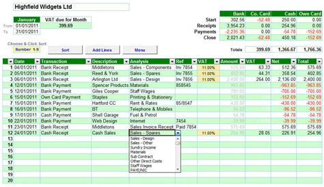 cash book accounting spreadsheet with flat rate vat