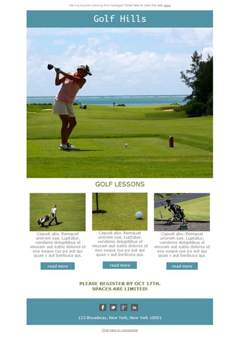 Free Email Templates Download Design Golf Hills Course Golf Newsletter Templates