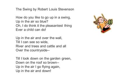 the swing poem by robert louis stevenson the swing by robert louis stevenson ppt video online