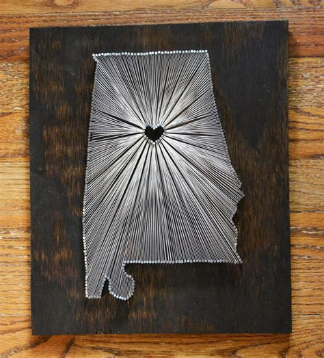 Alabama String - stained wood string state string nail