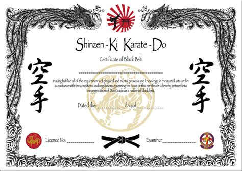 black belt certificate template taekwondo black belt certificate template pictures to pin