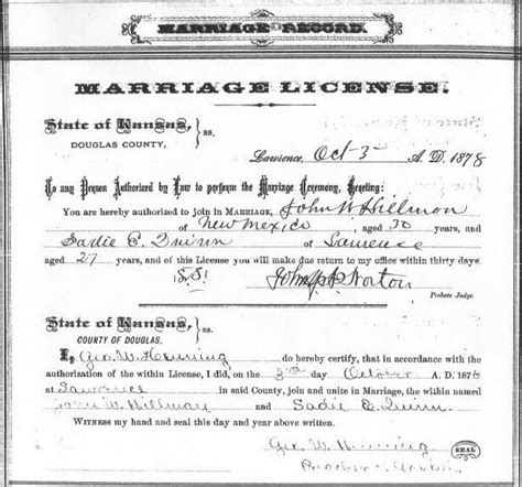 Kansas Marriage Records Marriage License The Hillmon