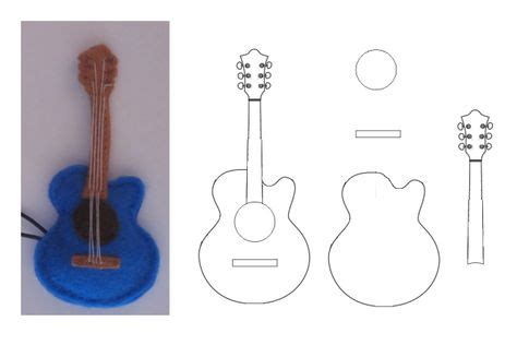 felt guitar pattern fieltro moldes patron on pinterest feltro felt doll