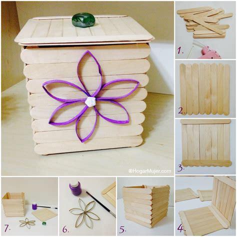 canastas de palitos madera de colores como hacer una caja con palitos de helado