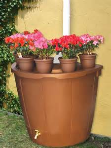 koolscapes 50 gallon rain barrel with 5 planters