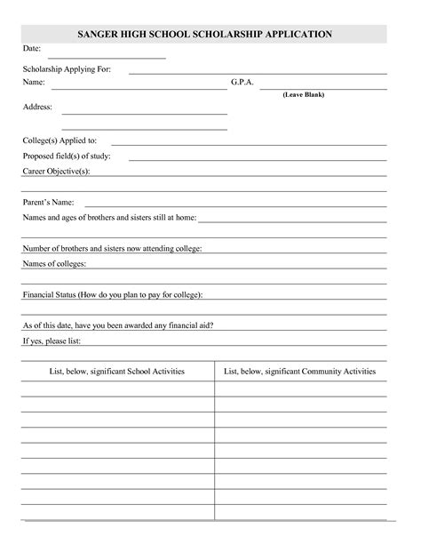 scholarship application form template best photos of scholarship application form template