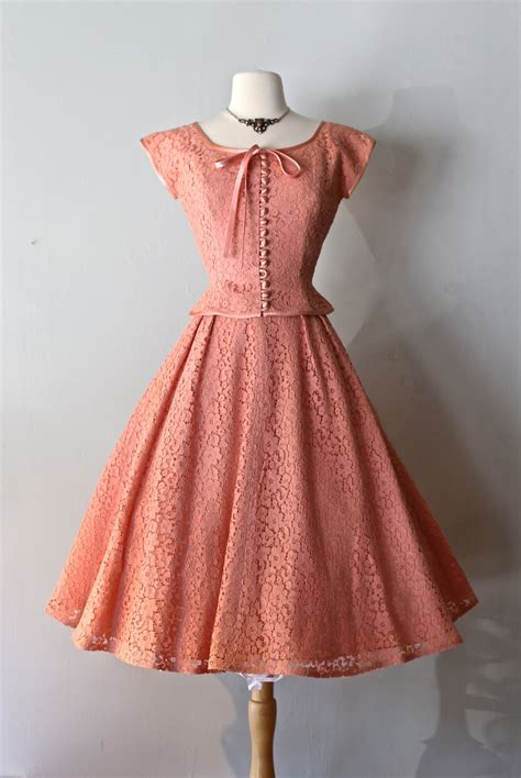 7 Tips For Identifying Vintage Clothing by Vintage 1950s Blush Lace Dress Vintage 50s By