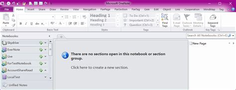 onenote new section group onenote 2010 suddenly missing all sections and display
