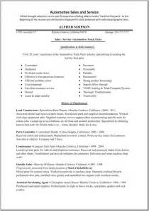 auto parts sales resume exles sales sales lewesmr