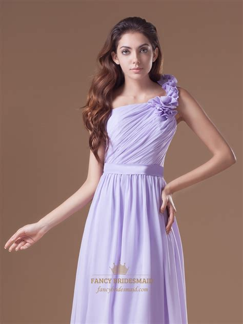 One Shoulder Ruffle Chiffon Dress lilac one shoulder ruffle chiffon bridesmaid dresses