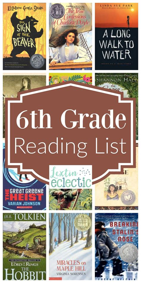 book list book list for 6th grade lextin eclectic