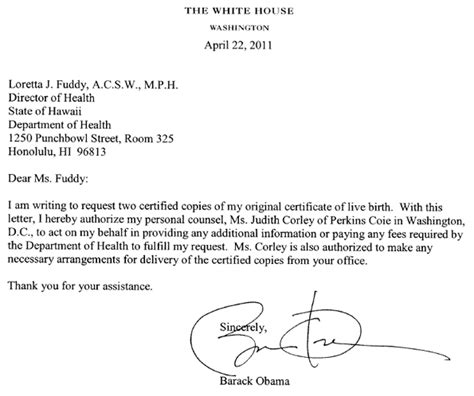 Authorization Letter Birth Certificate Hawaii Health Dept Details Obama Birth Certificate Request