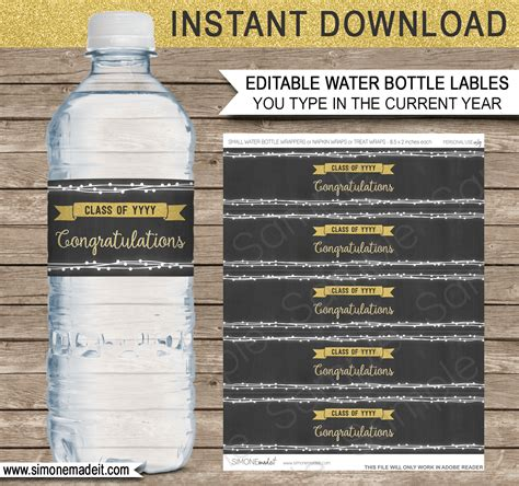 Graduation Party Water Bottle Labels Printable Party Decorations 8 Oz Water Bottle Label Template Free
