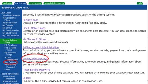 Doxpop Indiana Court Records Adjusting Your E Filing Notification Settings