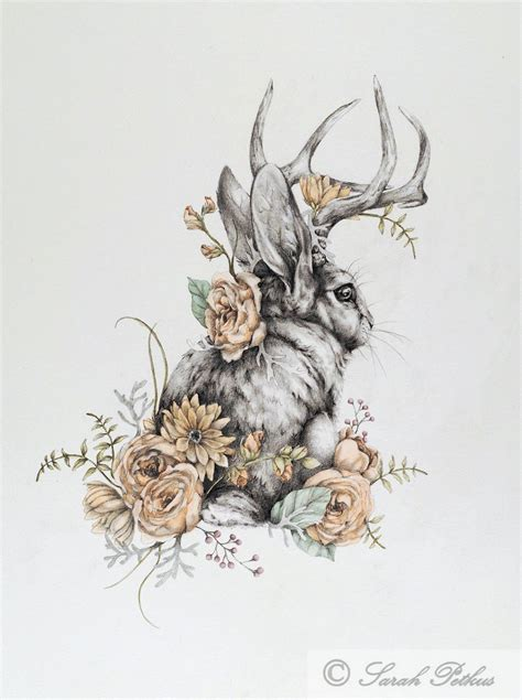 jackalope 16 x 20 large art print rabbit art folk animal