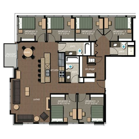 6 bedroom apartment 229 apartment floor plans hovde properties