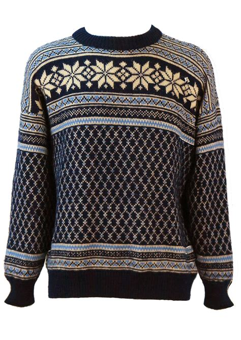 pattern wool jumper nordic wool jumper with intricate blue white pattern l