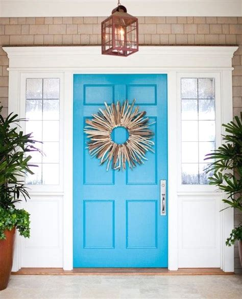 Turquoise Exterior House Paint - a door able blue painted front doors that remind you of the beach beach bliss living