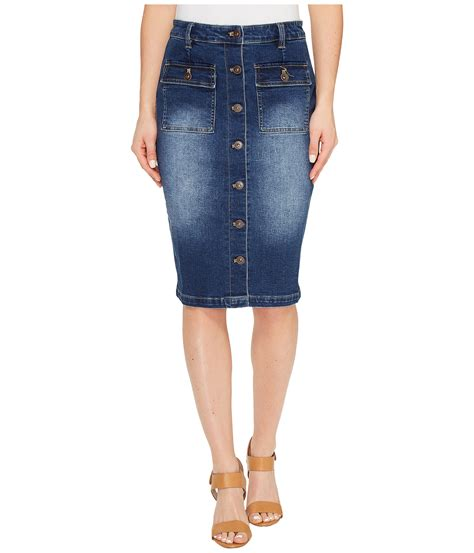 tribal stretch denim pencil skirt w buttons zappos
