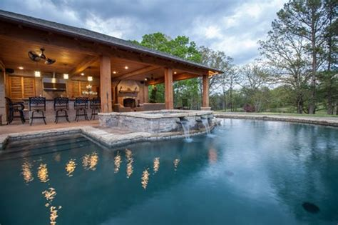 pool and outdoor kitchen designs rustic mississippi pool house landscaping network
