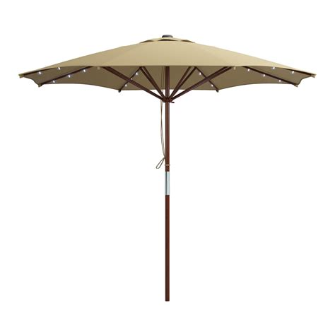Corliving Pzt 7 Patio Umbrella With Solar Power Led Lights Solar Patio Umbrella Lights