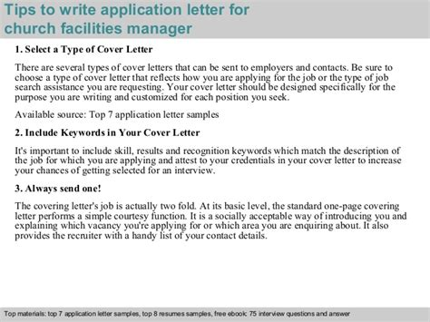 application letter for church church facilities manager application letter