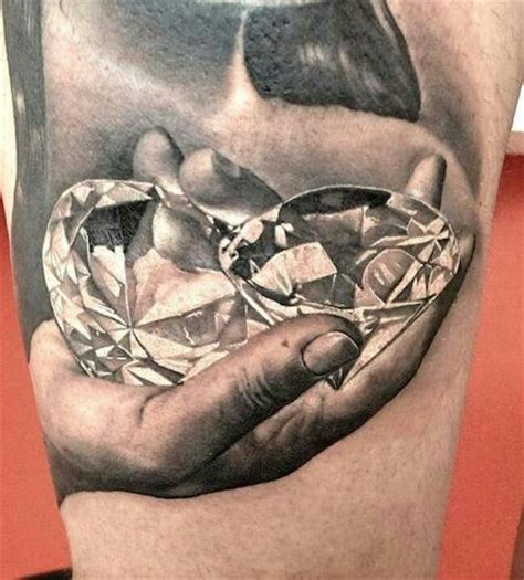 realistic diamond tattoo black grey tattoos