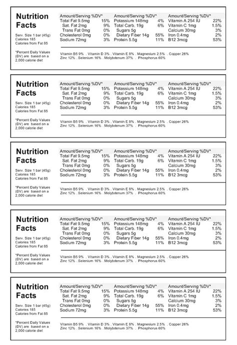 nutrition facts label template printable professional