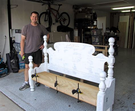 make a bench out of a headboard and footboard headboard makeover destashio