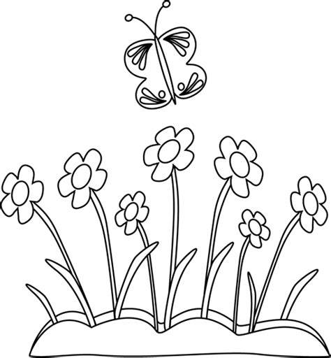 Outline Of Flowers And Butterflies by Black And White Butterfly And Flowers Clip Black And White Butterfly And Flowers Image