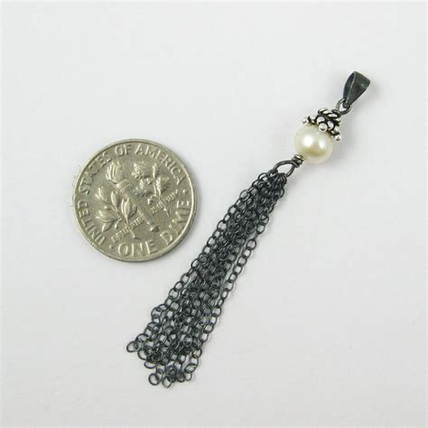 Tassel Oxidized Silver Tassel With Pearl 925 Sterling