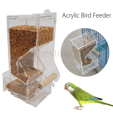 acrylic clear pet bird seed food feeder for parrot