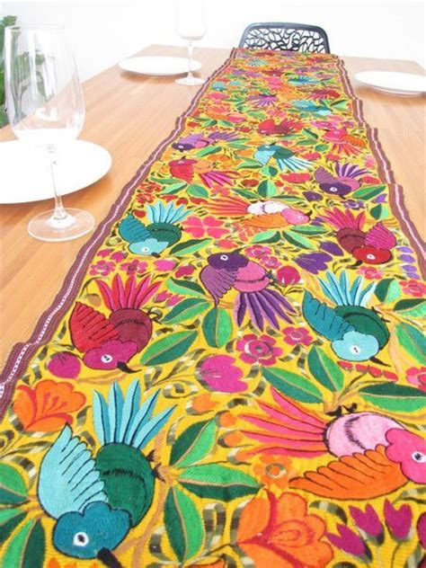 mexican embroidered table runner mexican textile