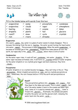 The Water Cycle Worksheet Answers by The Water Cycle Worksheet Answers Geersc