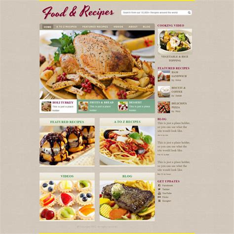 web cuisine cooking recipe web template free website templates
