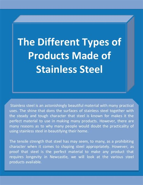 different steel types the different types of products made of stainless steel