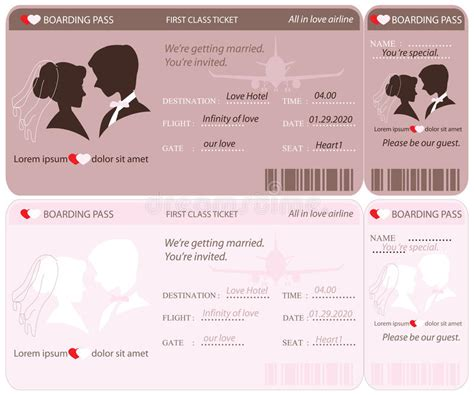 air ticket wedding invitation card template boarding pass ticket wedding invitation template stock