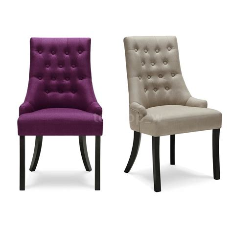 Tufted Button Linen Fabric Upholstered Padded Accent Padded Dining Chair