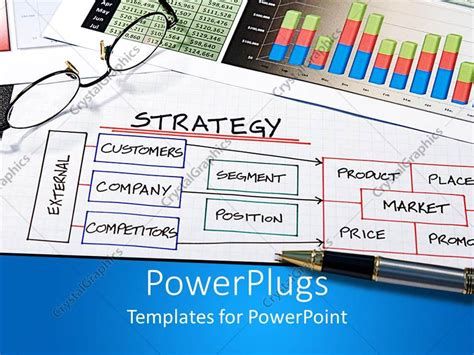 Powerpoint Template Business Theme With Strategy Diagram Business Chart Pen And Eyeglasses 4894 Enterprise Encryption Strategy Template