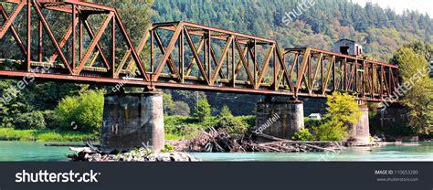 swing span bridge now abandoned warren through truss swing stock photo