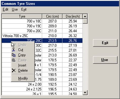 standard bicycle tyre size table