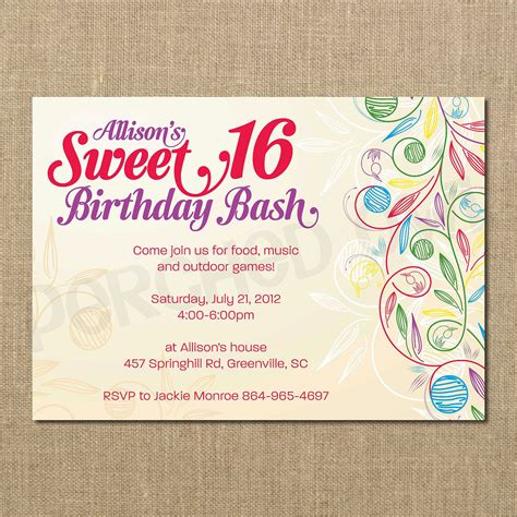 sweet 16 invitation card templates sweet 16 birthday invitations templates free sweet 16