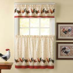 Kitchen Country Curtains Country Rooster Window Curtain Set Kitchen Valance Tiers Chickens