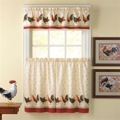 chicken kitchen curtains country rooster window curtain set kitchen valance tiers
