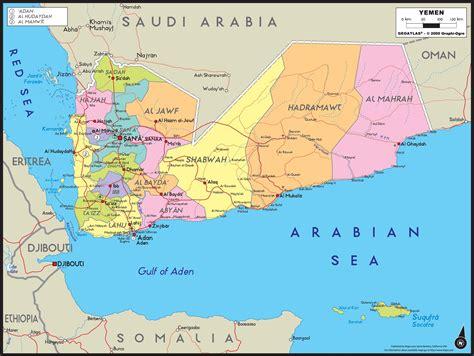 yemen map yemen political wall map maps com