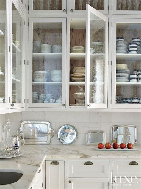 seeded glass door fronts transitional kitchen luxe