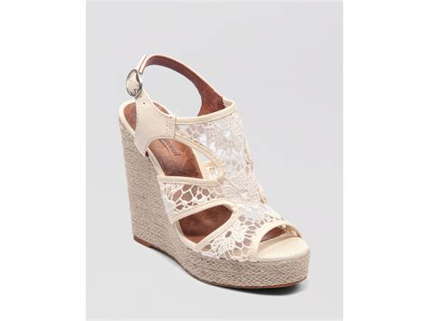 lucky brand wedge platform sandals reidel lace in white