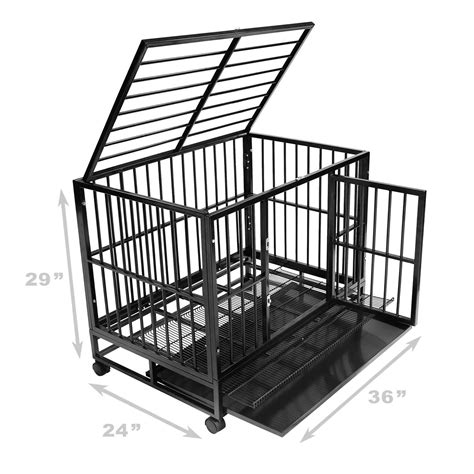 heavy duty cage heavy duty rolling cage crate kennel house with metal pan ebay